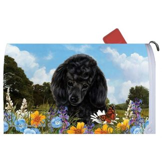 Black Poodle Mail Box Cover