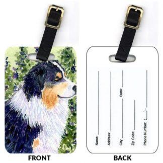 Black Tri Australian Shepherd Luggage Tags II (Set of 2)