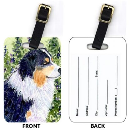 Black Tri Australian Shepherd Luggage Tags II (Set of 2)