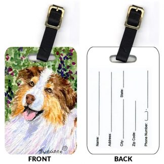 Red Tri Australian Shepherd Luggage Tags II (Set of 2)