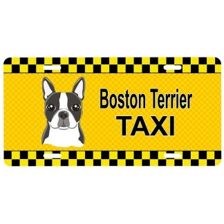 Boston Terrier License Plate - Taxi