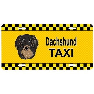 Longhaired Dachshund License Plate - Taxi (Brown)