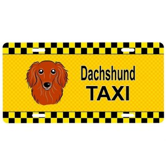 Longhaired Dachshund License Plate -Taxi (Red)