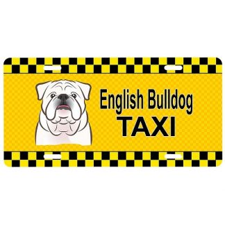 Bulldog License Plate - Taxi (White)
