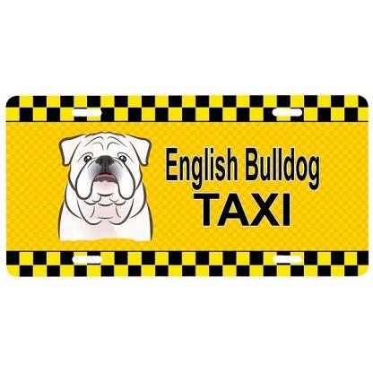 Bulldog License Plate - Taxi (White)