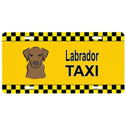 Chocolate Lab License Plate - Taxi