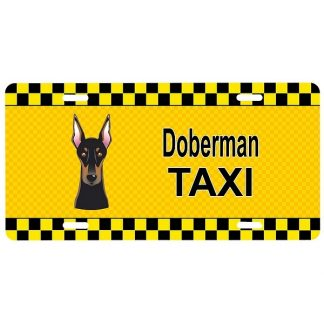 Doberman Pinscher License Plate - Taxi