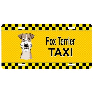 Wire Fox Terrier License Plate - Taxi