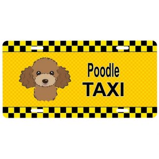 Chocolate Poodle License Plate - Taxi