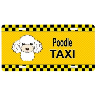 White Poodle License Plate - Taxi