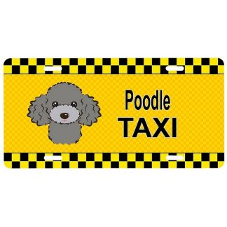 Silver Poodle License Plate - Taxi