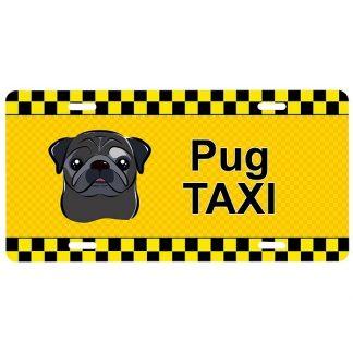 Pug License Plate - Taxi (Black)