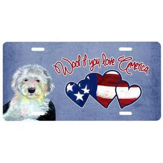 Old English Sheepdog License Plate - Woof