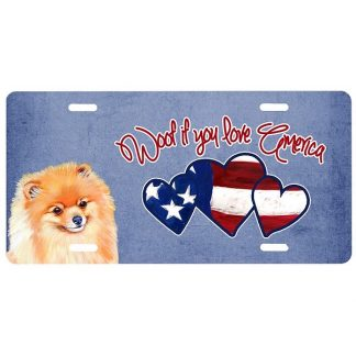 Pomeranian License Plate - Woof
