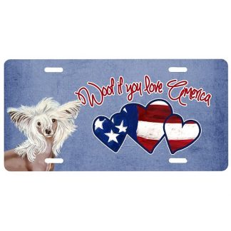 Chinese Crested License Plate - Woof