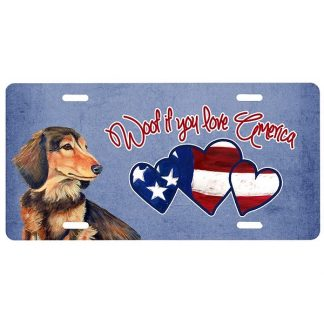Longhaired Dachshund License Plate - Woof