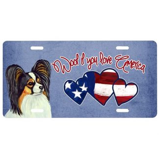 Papillon License Plate - Woof