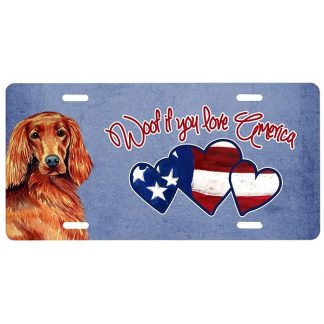Irish Setter License Plate - Woof