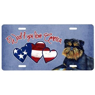 Brussels Griffon License Plate - Woof