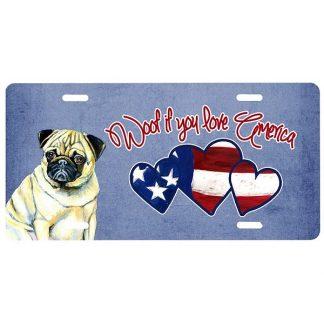 Pug License Plate - Woof