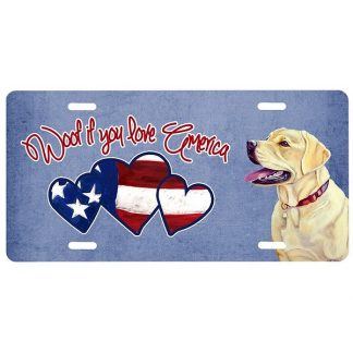 Yellow Lab License Plate - Woof