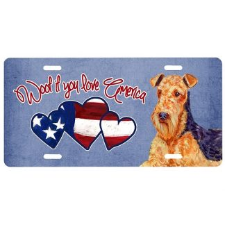 Airedale Terrier License Plate - Woof