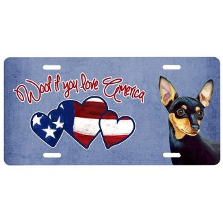 Miniature Pinscher License Plate - Woof