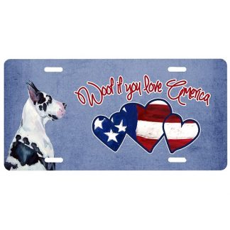 Great Dane License Plate - Woof