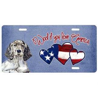 English Setter License Plate - Woof