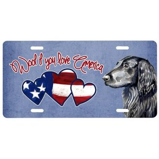 Flat Coated Retriever License Plate - Woof