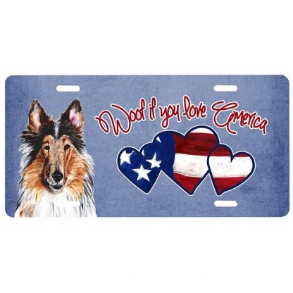 Collie License Plate - Woof