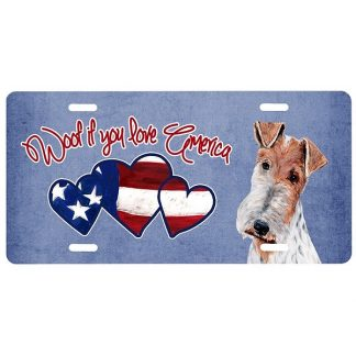 Wire Fox Terrier License Plate - Woof