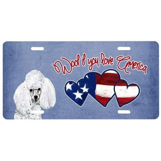 White Poodle License Plate - Woof II