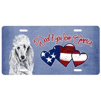 White Poodle License Plate - Woof