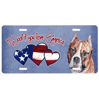 Staffordshire Terrier License Plate - Woof