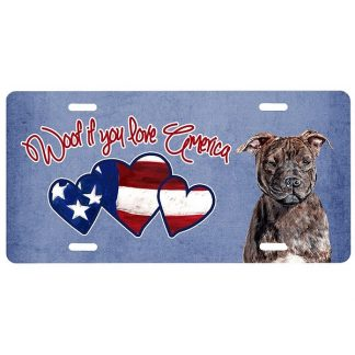 Staffordshire Bull Terrier License Plate - Woof