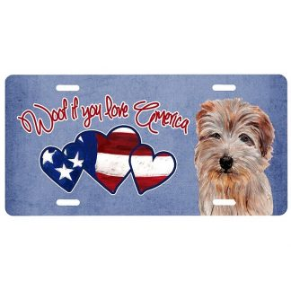 Norfolk Terrier License Plate - Woof