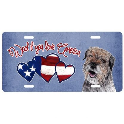 Border Terrier License Plate - Woof