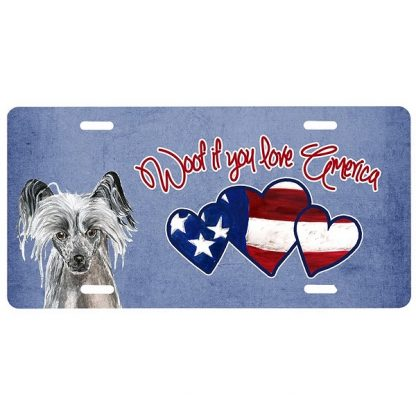 Chinese Crested License Plate - Woof II