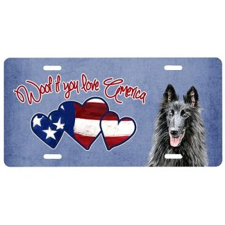 Belgian Sheepdog License Plate - Woof
