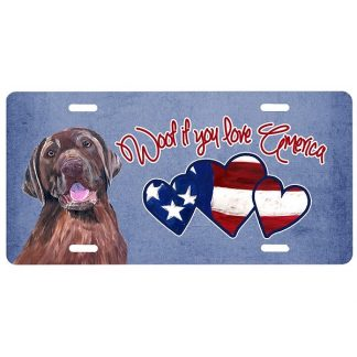 Chocolate Lab License Plate - Woof
