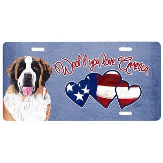Saint Bernard License Plate - Woof