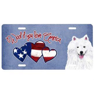 American Eskimo License Plate - Woof