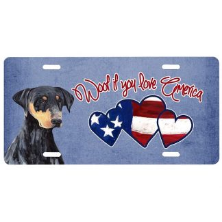 Doberman Pinscher License Plate - Woof