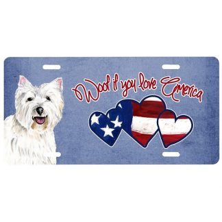 West Highland Terrier License Plate - Woof