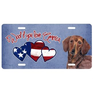 Dachshund License Plate - Woof
