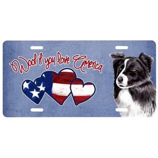 Border Collie License Plate - Woof
