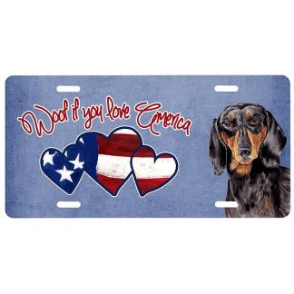 Dachshund License Plate - Woof (Black Tan)