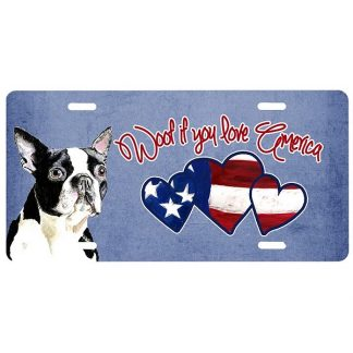 Boston Terrier License Plate - Woof