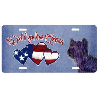 Skye Terrier License Plate - Woof